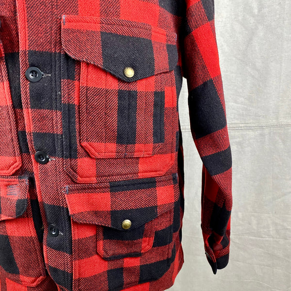 Left Upper and Lower Front Pocket on Vintage Union Made Filson Mackinaw Wool Cruiser Red and Black Buffalo Plaid
