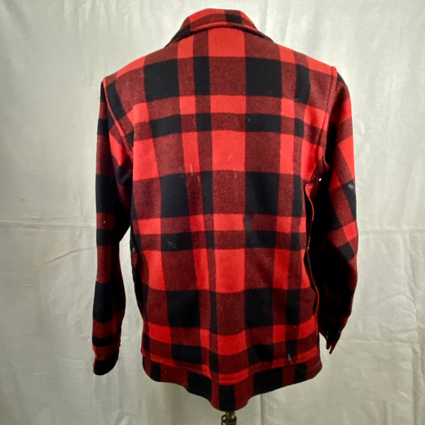 Rear View on Vintage Union Made Filson Mackinaw Wool Cruiser Red and Black Buffalo Plaid