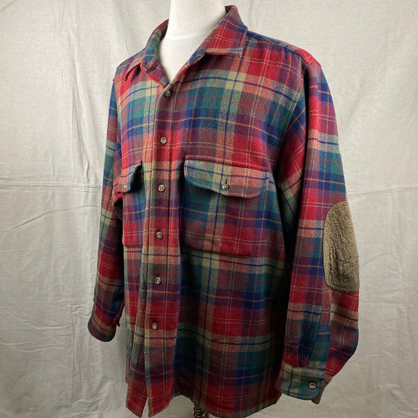 Left Angle View of Pendleton Red Blue & Green Trail Shirt SZ XL