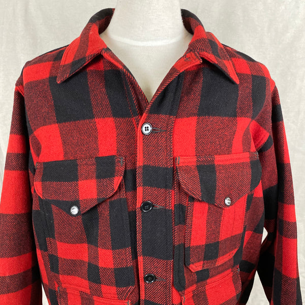Upper Chest View of Union Made Buffalo Plaid Filson Mackinaw Cruiser