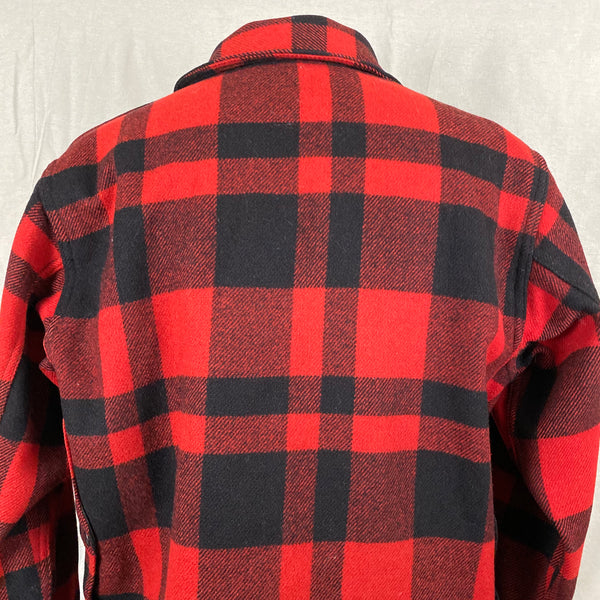 Upper Rear Shoulder View of Union Made Buffalo Plaid Filson Mackinaw Cruiser