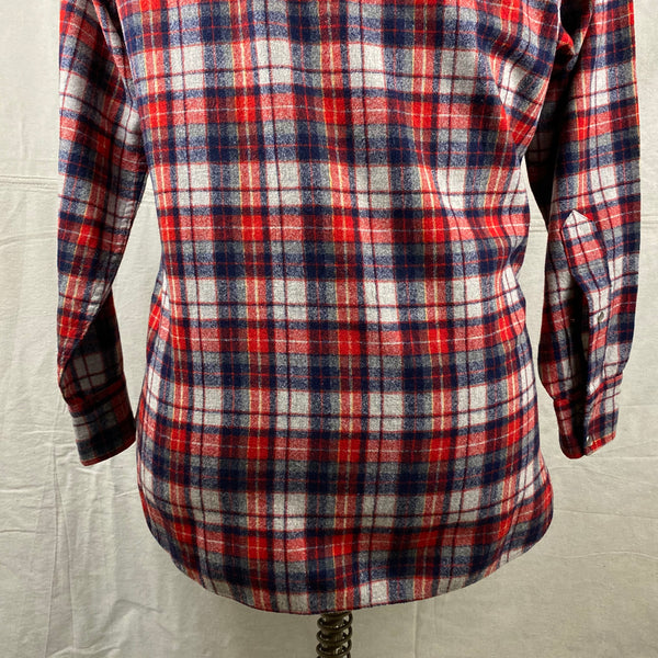 Lower Rear View of Vintage Pendleton Red & Blue Plaid High Grade Western Wear Flannel Shirt SZ L