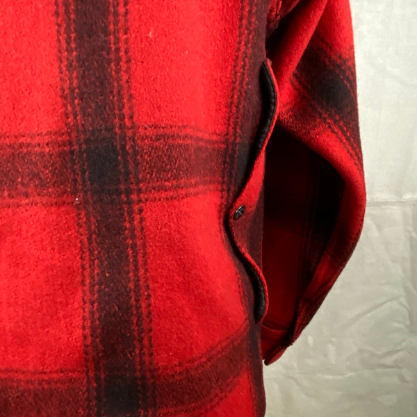 Right Map Pocket Closure on Vintage Union Made 75% Red Filson Hunter Wool Coat Style 85