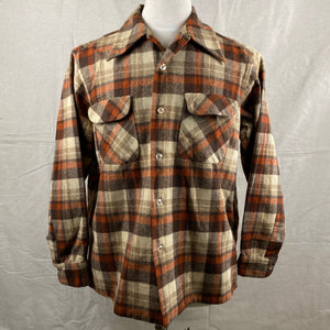Front View of Vintage Brown & Tan Pendleton Board Shirt SZ L