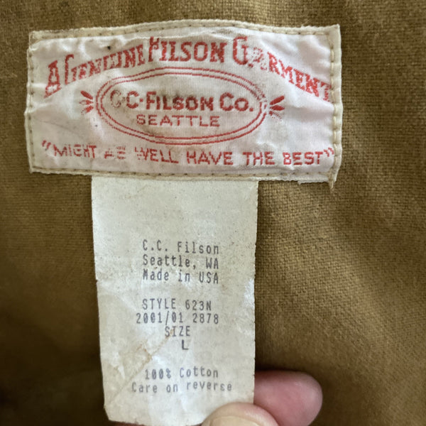 Tag View of Vintage Filson Tin Cloth Jacket Style 623N
