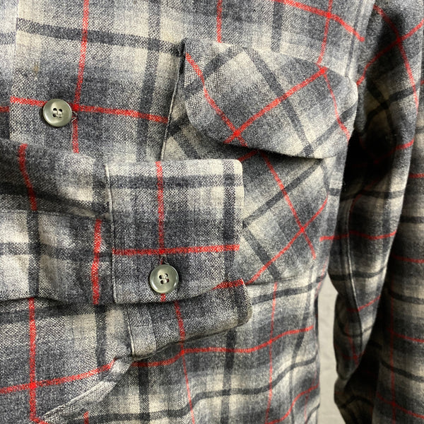 Right Cuff View of Vintage Pendleton Grey & Red Plaid Wool Board Shirt SZ M