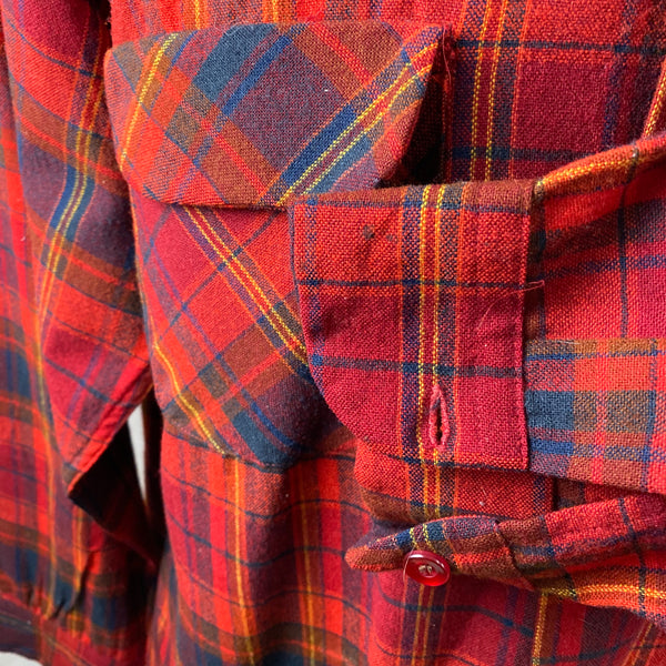 Left Cuff View of Vintage Red Blue & Yellow Pendleton Board Shirt SZ L