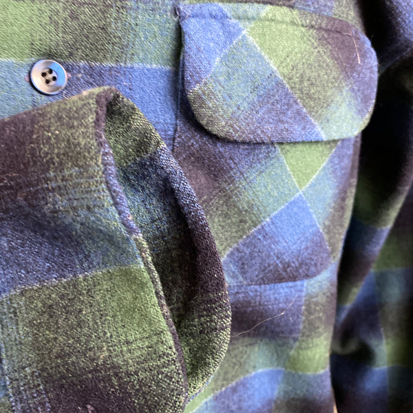 Right Cuff View on Vintage Pendleton Blue & Green Shadow Plaid Wool Board Shirt SZ XL