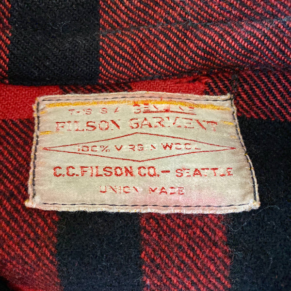 Sizing Tag on Vintage Union Made Filson Mackinaw Wool Cruiser Red and Black Buffalo Plaid
