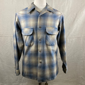 Front View of Vintage Blue/Tan Pendleton Shadow Plaid Board Shirt SZ M
