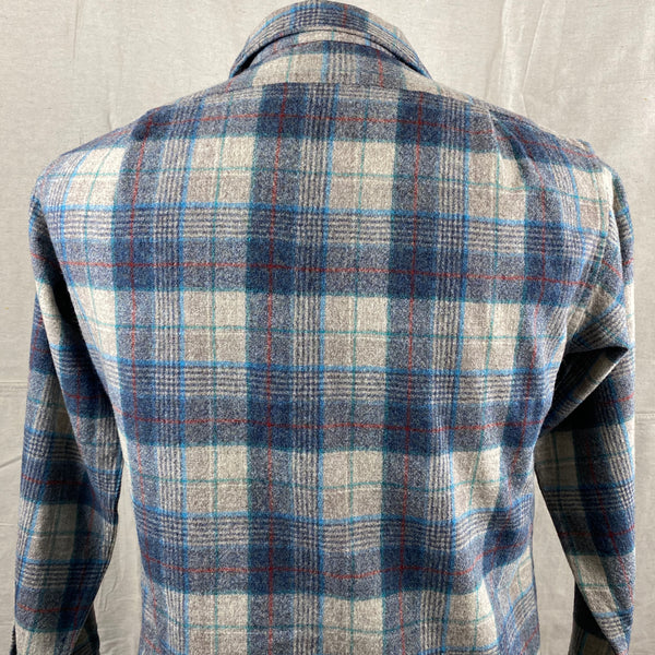 Upper Rear View of Vintage Blue/Grey/Red Pendleton Board Shirt SZ M
