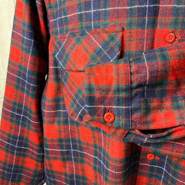 Left Cuff View on Vintage Red, Blue & Green Pendleton Board Shirt SZ XL