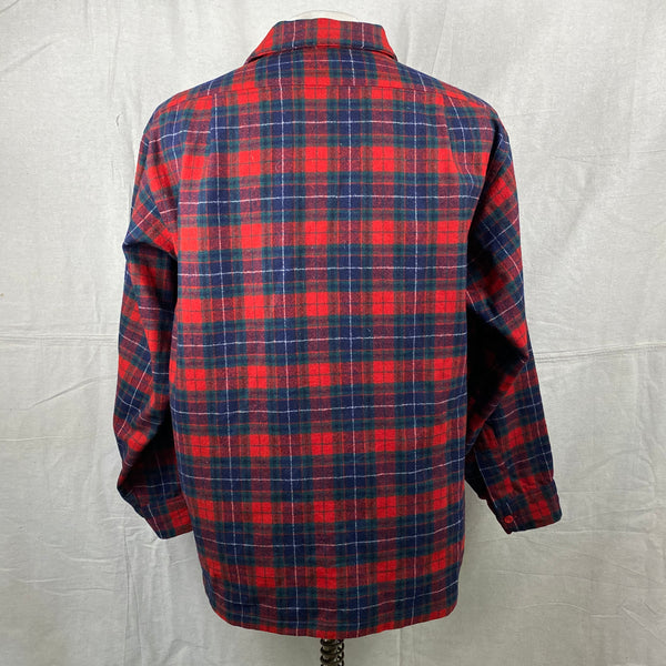 Rear View of Vintage Red, Blue & Green Pendleton Board Shirt SZ XL