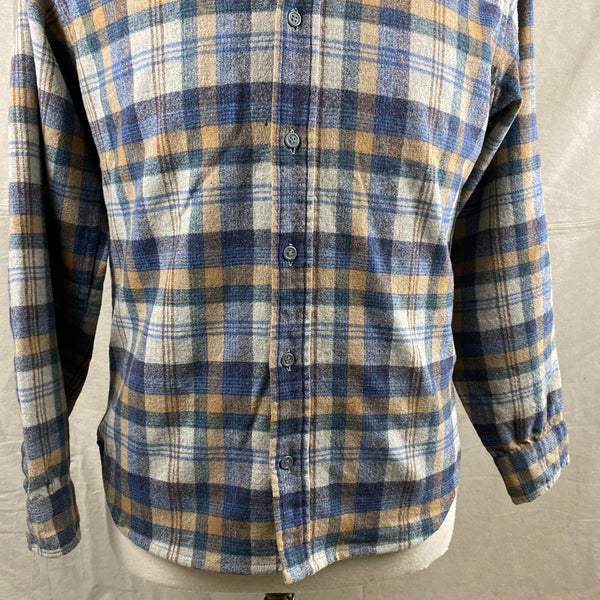 Lower Front View of Vintage Pendleton Blue/Grey Plaid Wool Flannel Shirt SZ M