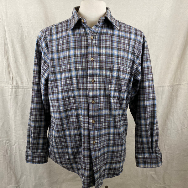Front View of Pendleton Blue & Brown Trail Shirt SZ L