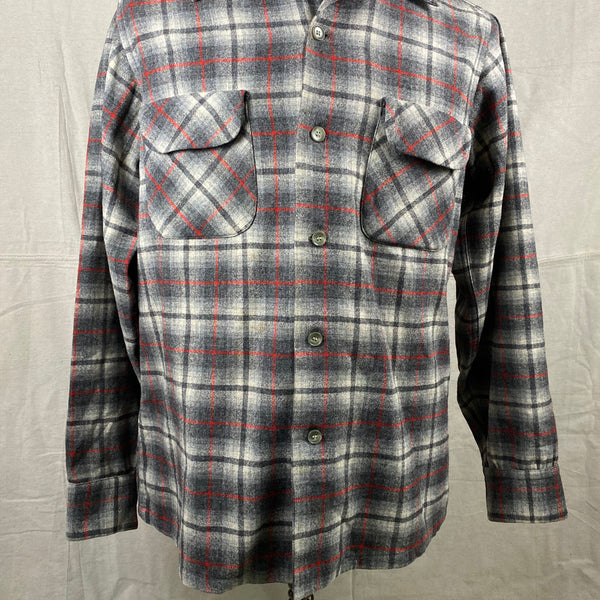 Lower Front View of Vintage Pendleton Grey & Red Plaid Wool Board Shirt SZ M