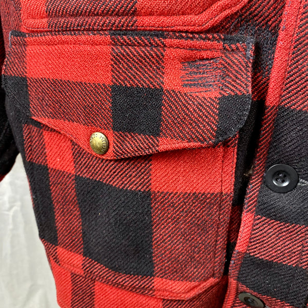 Repairs on Lower Right Pocket on Vintage Union Made Filson Mackinaw Wool Cruiser Red and Black Buffalo Plaid