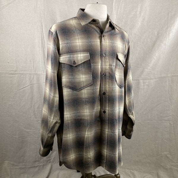 Right Angle View of Vintage 50s/60s Era Pendleton Shadow Plaid Wool Flannel Shirt SZ 17