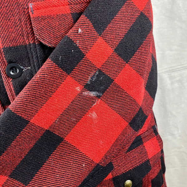 Paint Splatters on Left Sleeve on Vintage Union Made Filson Mackinaw Wool Cruiser Red and Black Buffalo Plaid