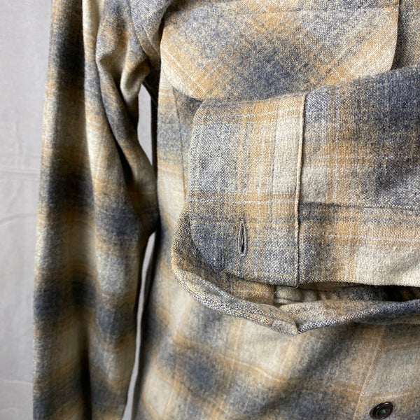 Left Cuff View on Vintage Pendleton Grey & Tan Shadow Plaid Wool Board Shirt SZ S