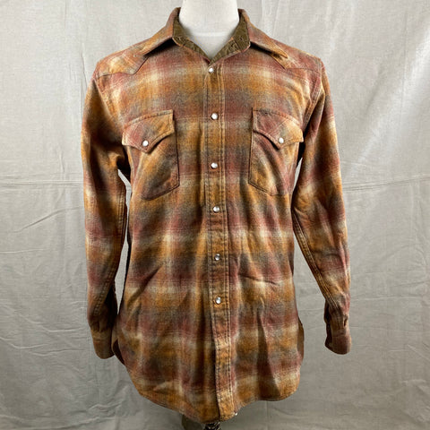 Front View of Vintage Pendleton Brown/Orange Plaid High Grade Western Wear Flannel Shirt SZ L