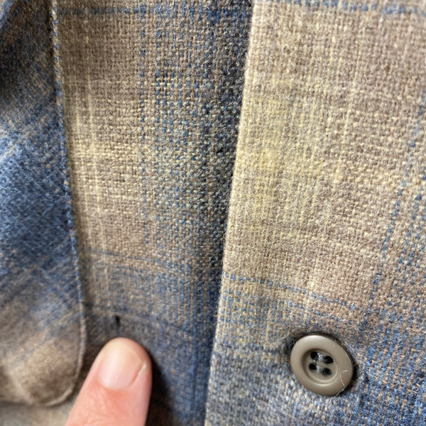 Hole By Pocket on Vintage Blue/Tan Pendleton Shadow Plaid Board Shirt SZ M