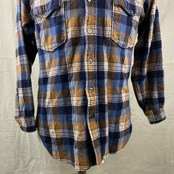 Lower Front View of Vintage Pendleton Plaid Wool Flannel Shirt SZ 16 1/2