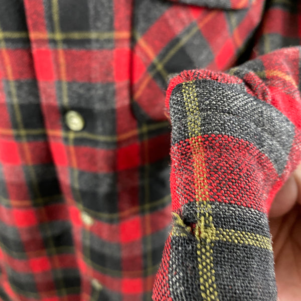 Small Hole on Cuff of Vintage 50s/60s Era Red and Black Pendleton Board Shirt SZ M