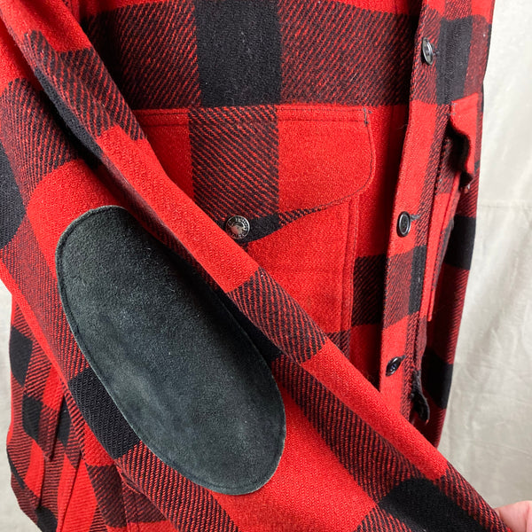 Right Elbow Patch on Vintage Union Made Filson Wool All Use Coat Wool Mackinaw