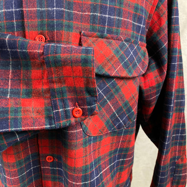 Right Cuff View of Vintage Red, Blue & Green Pendleton Board Shirt SZ XL