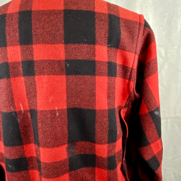 Upper Right Shoulder View on Vintage Union Made Filson Mackinaw Wool Cruiser Red and Black Buffalo Plaid