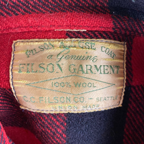 Tag View of Vintage Union Made Filson Wool All Use Coat Wool Mackinaw