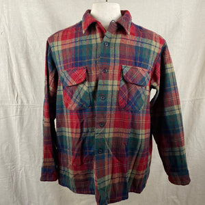 Front View of Pendleton Red Blue & Green Plaid Wool Board Shirt SZ XL