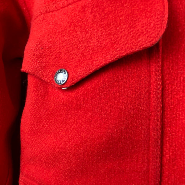 Upper Right Pocket View on Vintage Union Made Filson Scarlet Cruiser Debossed Buttons