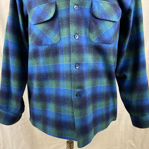 Lower Chest View of Vintage Pendleton Blue & Green Shadow Plaid Wool Board Shirt SZ XL