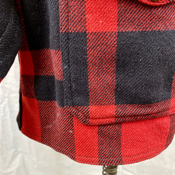 Lower Pocket View with Paint Splatters on Vintage Union Made Filson Mackinaw Wool Cruiser Red and Black Buffalo Plaid