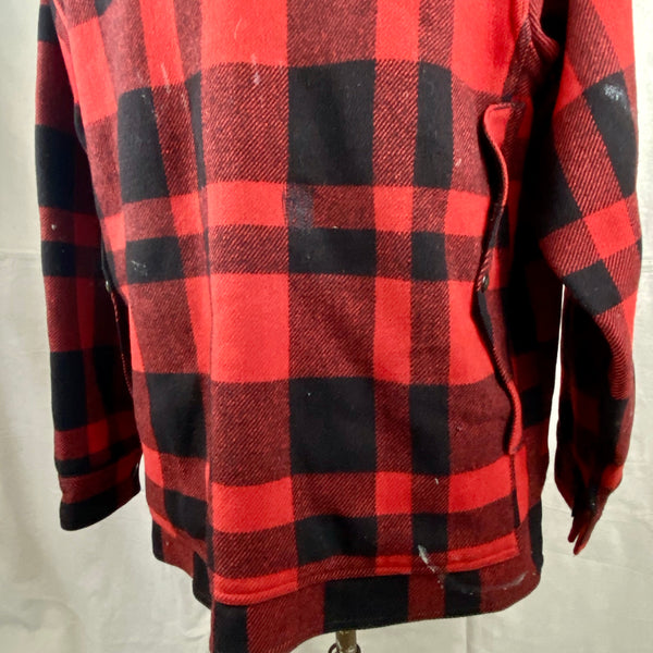 Alternate Rear View on Vintage Union Made Filson Mackinaw Wool Cruiser Red and Black Buffalo Plaid