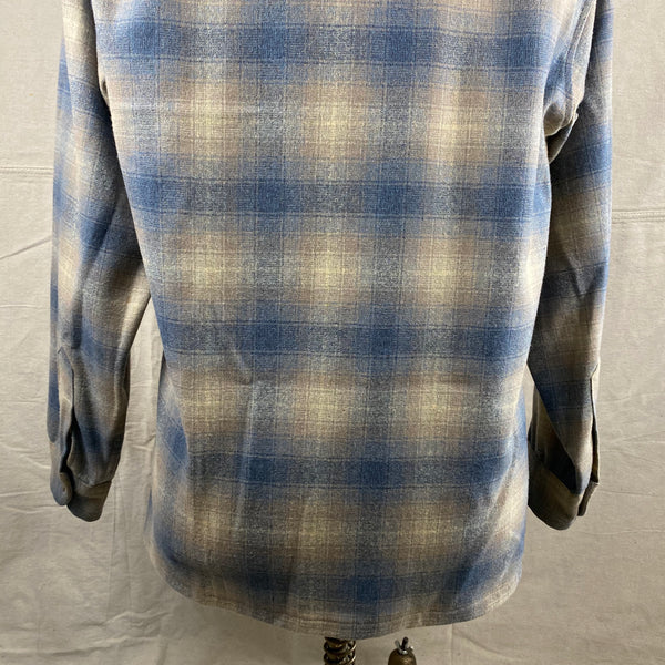 Lower Rear View on Vintage Blue/Tan Pendleton Shadow Plaid Board Shirt SZ M