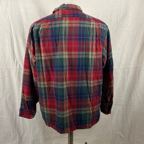 Rear View of Pendleton Red Blue & Green Plaid Wool Board Shirt SZ XL