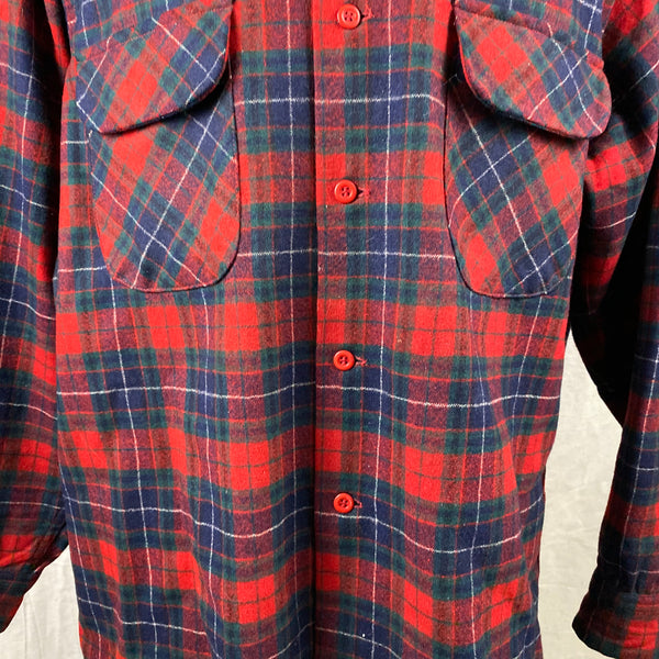 Lower Chest View of Vintage Red, Blue & Green Pendleton Board Shirt SZ XL