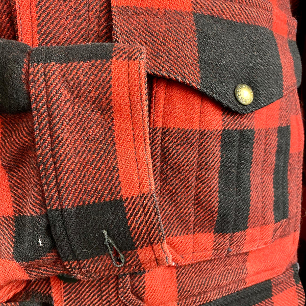 Right Cuff View on Vintage Union Made Filson Mackinaw Wool Cruiser Red and Black Buffalo Plaid