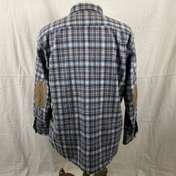 Rear View of Pendleton Blue & Brown Trail Shirt SZ L