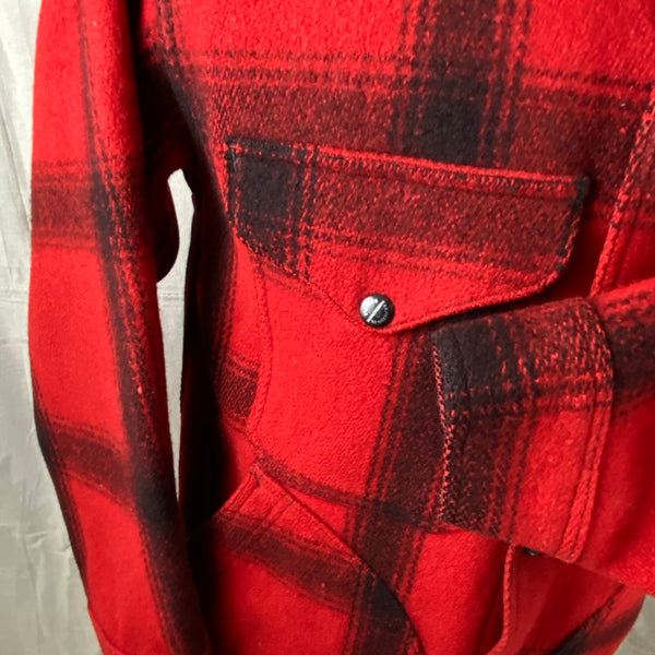 Left Cuff View on Vintage Union Made 75% Red Filson Hunter Wool Coat Style 85
