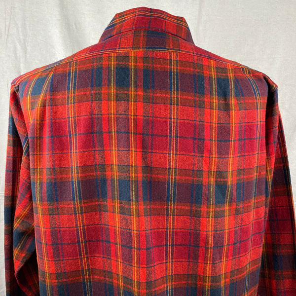 Upper Rear View of Vintage Red Blue & Yellow Pendleton Board Shirt SZ L