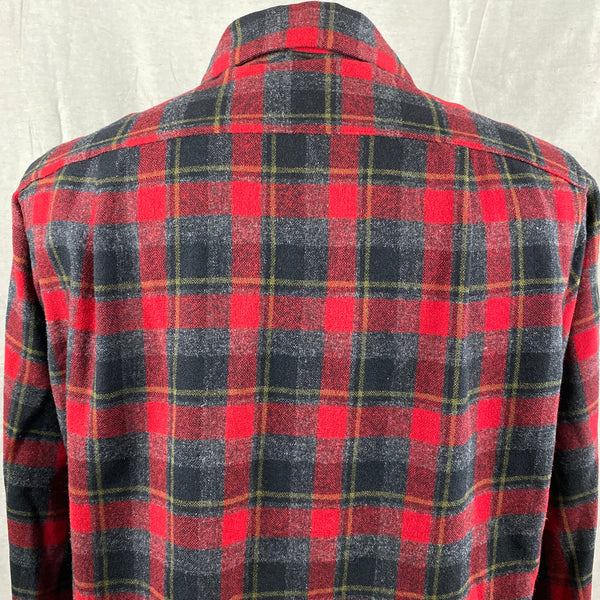 Upper Rear View of Vintage 50s/60s Era Red and Black Pendleton Board Shirt SZ M