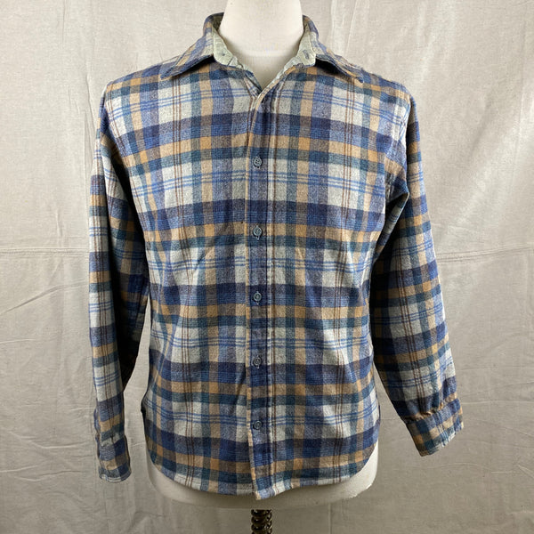 Front View of Vintage Pendleton Blue/Grey Plaid Wool Flannel Shirt SZ M