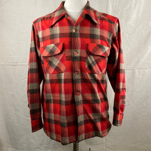 Front View of Vintage Red/Grey/Black Pendleton Board Shirt SZ M