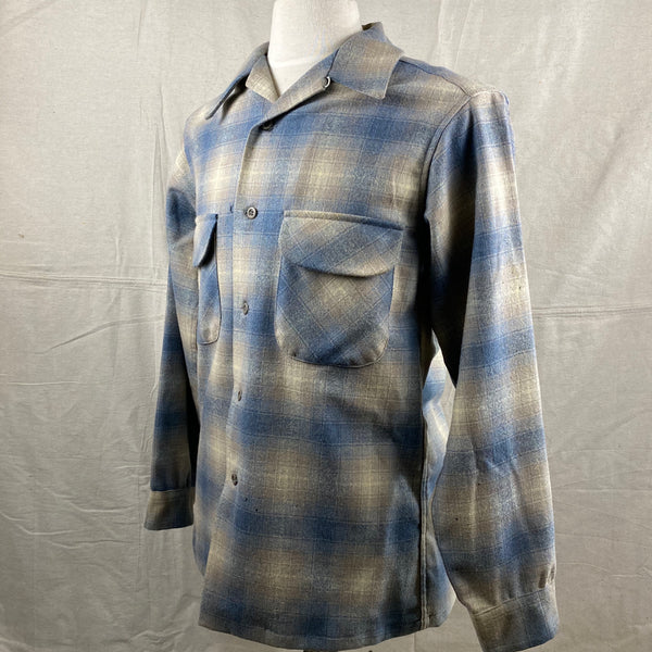 Left Angle View of Vintage Blue/Tan Pendleton Shadow Plaid Board Shirt SZ M