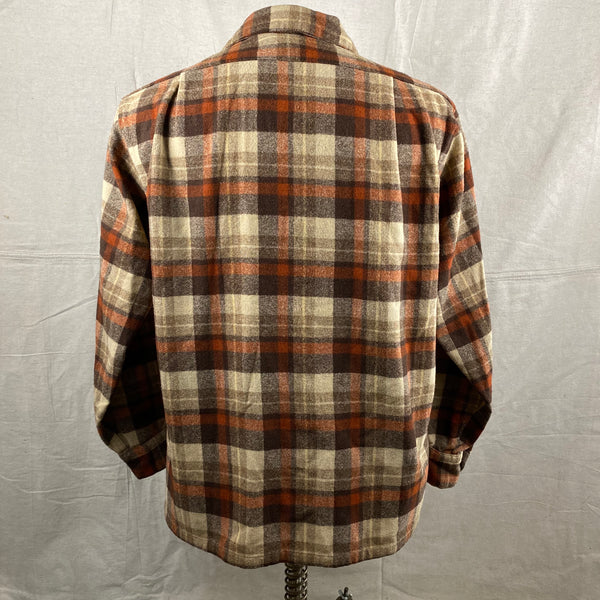 Rear View of Vintage Brown & Tan Pendleton Board Shirt SZ L