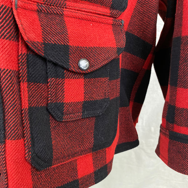 Lower Compass Pocket View of Union Made Buffalo Plaid Filson Mackinaw Cruiser